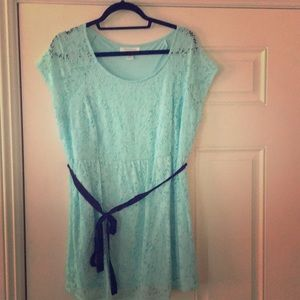 Blue Lace Top with front tie